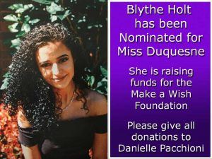 Photo of Blythe Holt, who has been nominated for Miss Duquesne and is raising funds for the Make a Wish Foundation.