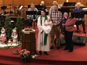Photo of Amelia Rose Spiker baptism.