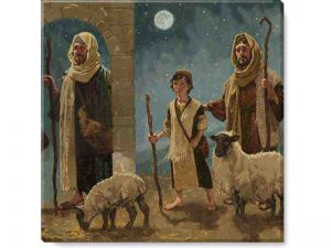 Photo of a painting of shepherds and sheep at the nativity.