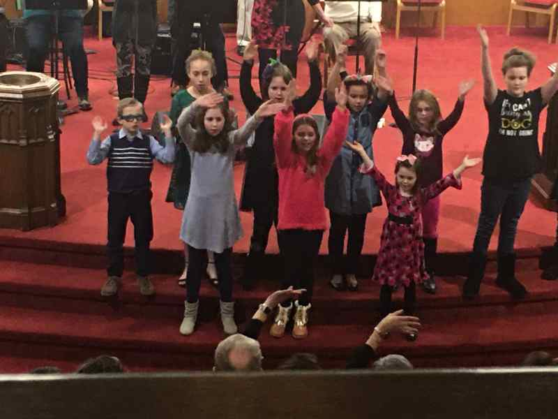 Photo of Children's Choir singing on January 19, 2020.