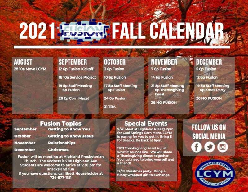 Fall Calendar for Lawrence County Youth Ministry.